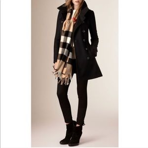 Authentic Burberry Black Wool Trench Coat Size 2